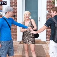 Blonde granny Cammille Austin jerks a pair of dicks after seducing boys in a dress