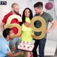 Busty granny Rita Daniels sucks on big white and black cocks for birthday number 69