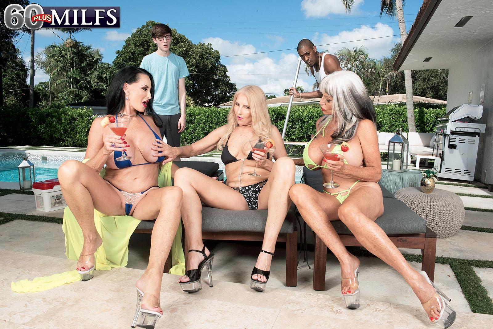 Granny pornstar Rita Daniels and her girlfriends seduce the pool cleaning boys