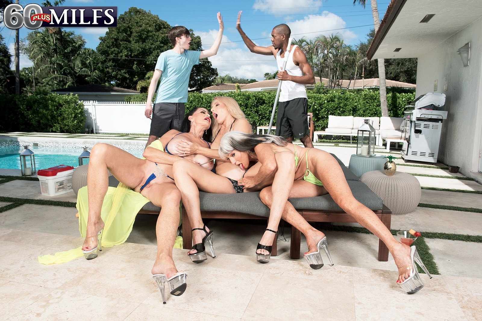 Granny pornstar Rita Daniels and her girlfriends seduce the pool cleaning boys