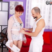 Redhead granny Caroline Hamsel gets fucked by her masseur during a massage
