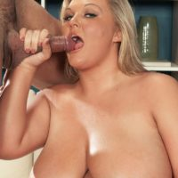 Blonde BBW Anna Kay tit smothers her man after oral and vaginal sex takes place