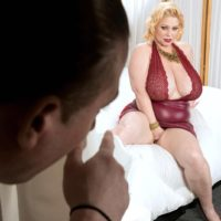 Thick blonde Samantha 38G has her huge tits played with by a man friend