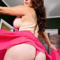 Big titted brunette Carmen Ross bares her huge bubble butt before getting on top