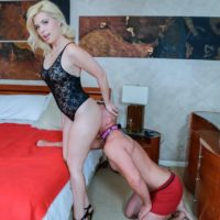Clothed blonde Inga Victoria has her ass sniffed by her girlfriend's submissive