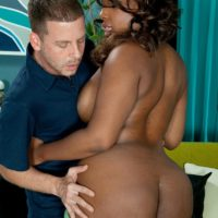 Ebony MILF Layla Monroe exposes her big black ass as her and a white boy disrobe