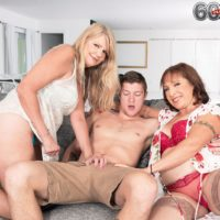 Granny pornstar Luna Azul and a nan friend of hers strip and blow a younger boy