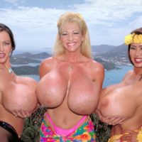 Mature Asian woman Minka and two girlfriends show off their massive tits outdoors