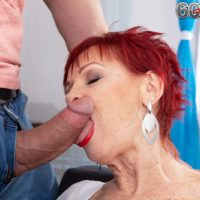 Old redhead Caroline Hamsel sucks and fucks a boy after he catches her masturbating