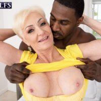 Platinum blonde granny Seka Black sucks off a younger man's massive black dick