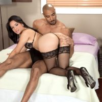 Sexy MILF Cici Love has her big butt grabbed by her black lover in stockings and heels