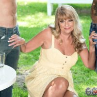 Thick 60 plus blonde Mia Magnusson seduces the gardeners outdoors for MMF sex