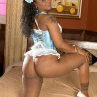 Ebony solo model Baby Doll flaunts her big booty in sexy lingerie and a frilly thong