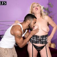 Sexy mature blonde Lady Dulbin seduces a younger man in a hot lingerie ensemble