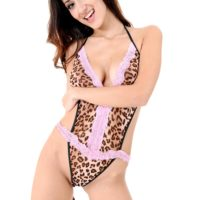 Solo girl Darcia Lee rides a dildo wearing leopard print stockings and high heels