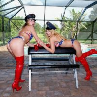 hot blondes Mickey Tyler and Kelly Paige dominate a male sub in USA themed bikinis