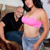 thick Latina check with tattoos Angelina has her big booty freed from jeans by a guy