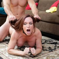Busty MILF Diamond Foxxx has her hair pulled while getting ass fucked on a rug