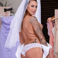 Tattooed bride Juelz Ventura uncovers her big tits before anal sex commences