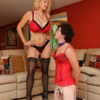 Hot wife Charlee Chase makes crossdressing sissy suck a strapon cock on his knees