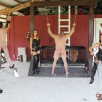 Clothed women Michelle and Lacy plus a girlfriend dominate naked men outdoors