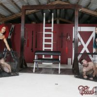 Hot babes Daisy Ducati and Raven Bay dominate male slaves during outdoor action