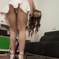 Amateur solo girl Miranda prepares to park her hairy bush on top of a dildo at home