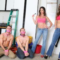Clothed babes Dava and Molly make shirtless men wear slave collars during SFW play