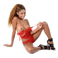 Ebony babe Luna Corazon sucks and rides a sex toy after taking off red lingerie
