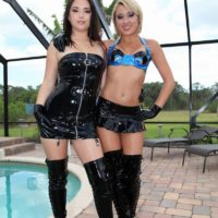Hot girls Daisy Haze and Marina Angel tease a male sub that sports a chastity device