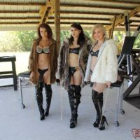 Isobel Raven and Rikki are joined by a cruel babe to torture a lone male submissive