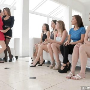 A group of teen lesbians put their bare asses on display while two other girls kiss
