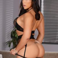 Asian MILF Mia Li does a double penetration after posing in black lingerie and hosiery