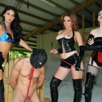 Dominant women Lizzie and Esmi hookup with Deanna to dominate a hooded male