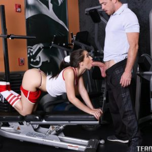 Teen pornstar Joseline Kelly gets fucked on a gym equipment during a workout