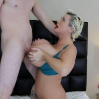 Big boobed older blonde Claudia Marie sucks and titty fucks a large white penis