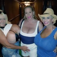 Big titted blonde Claudia Marie captured in candid action and having lesbian sex
