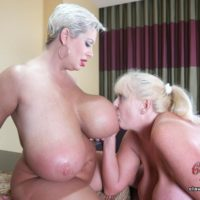 Big titted blonde Claudia Marie engages in strapon lesbian sex during rough FFM sex