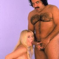 Big titted blonde Kayla Kleevage sucks infamous pornstar Ron Jeremy's dick before sex