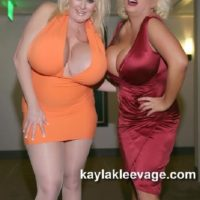 Big titted blondes Kayla Kleevage and Claudia Marie give a double BJ during a 3some