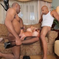 Big titted mature blonde Kayla Kleevage gets ass fucked during sex with big black cocks