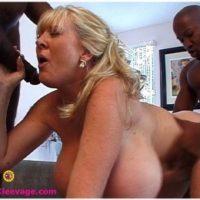 Big titted older blonde Kayla Kleevage takes on big black dicks during hardcore action