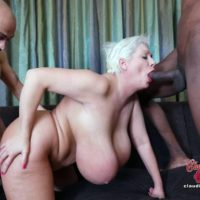 Big titted platinum blonde Claudia Marie takes on big white and black cocks at once