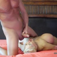 Busty mature platinum blonde Claudia Marie receives a cumshot in mouth after a fuck