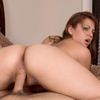 Barely legal amateur Ellie Shae sucks a cock before taking it inside her bald cunt