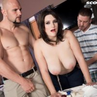 Hefty boobed chick May West has her erect nipples tongued and immense bum revealed by 2 boys