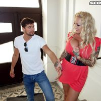 Platinum-blonde cutie Bambi Blacks entices a stud on a park bench in a short sundress