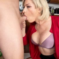 Blonde cougar Katlynn Keys gives a ball sucking blowjob before sex with her toy boy