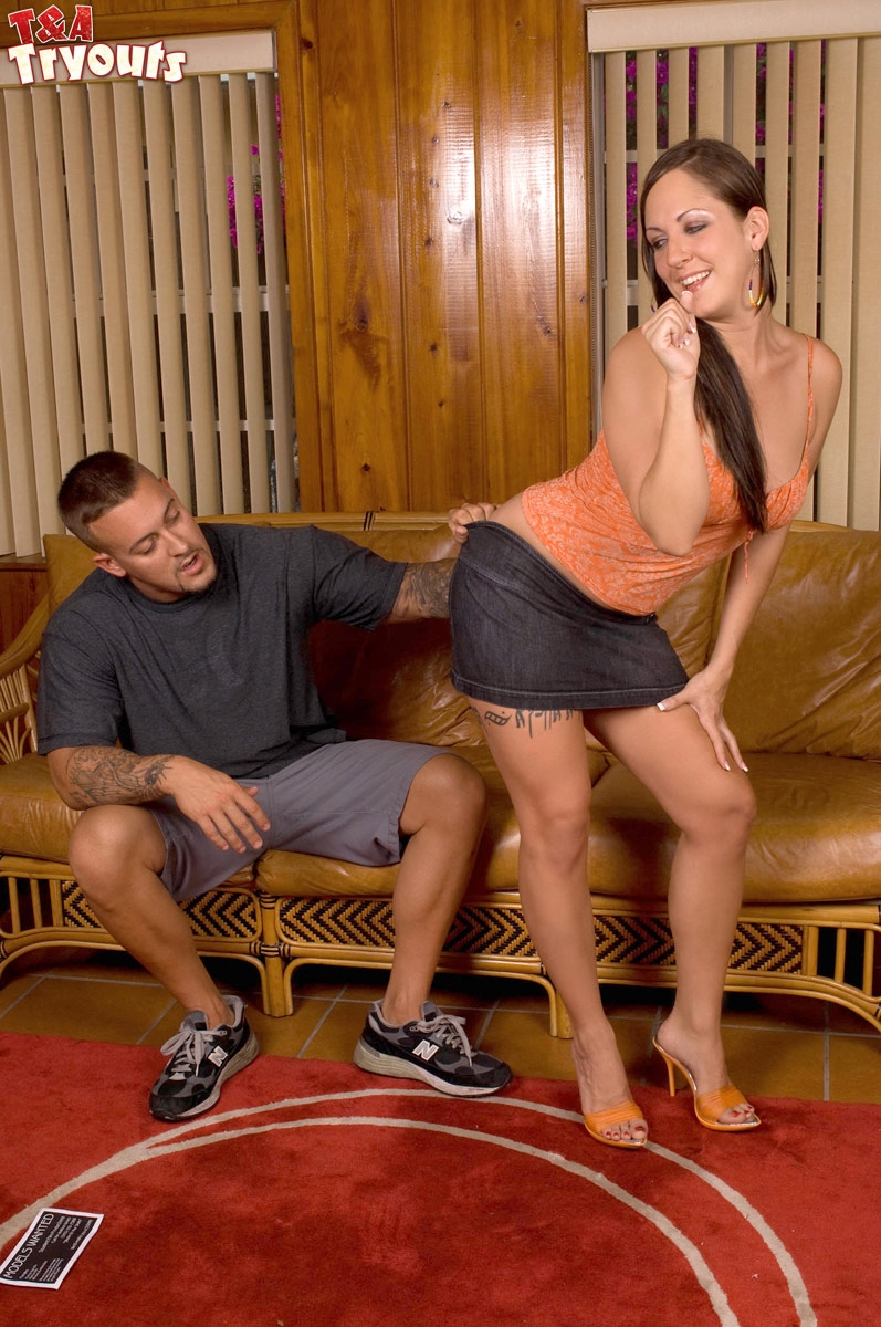 Busty amateur Sandra Blake gives a ball licking blowjob before riding a hard cock