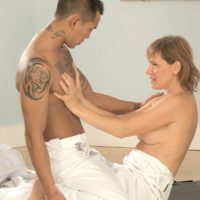 Busty mature MILF Wendy gags on a cock after anal sex with her Asian masseur
